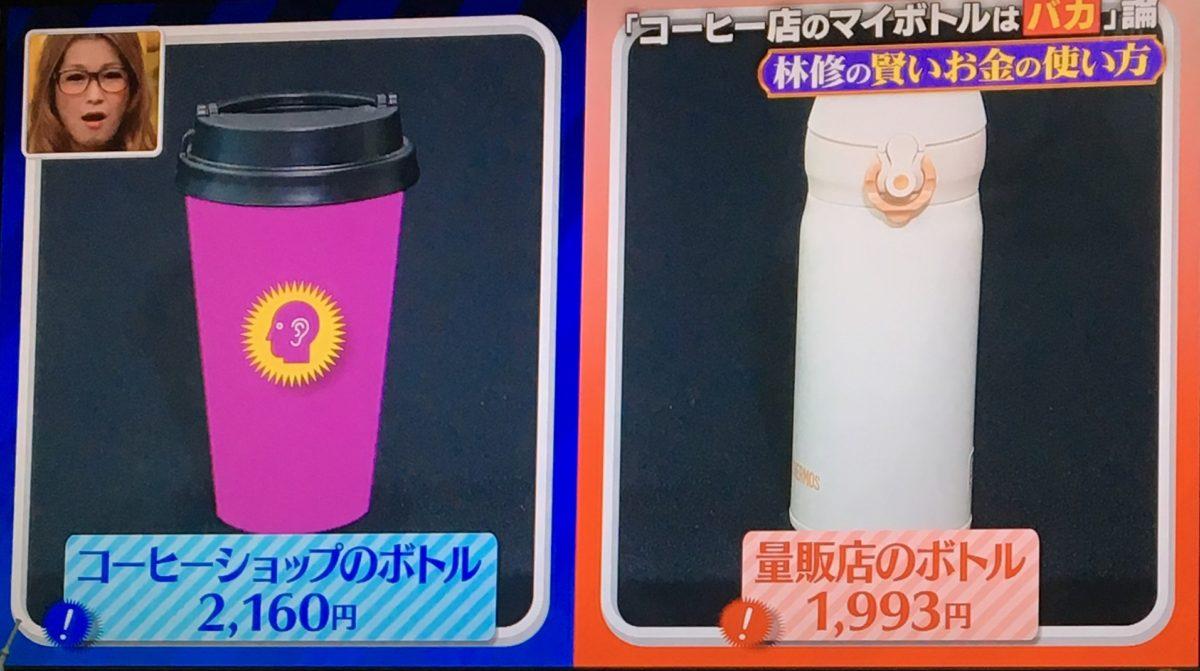 カフェのボトルと量販店のボトル
