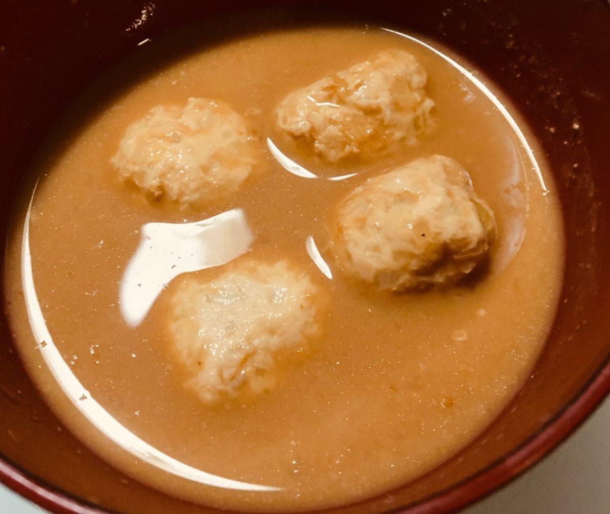 豆乳みそのお団子スープの出来上がり画像