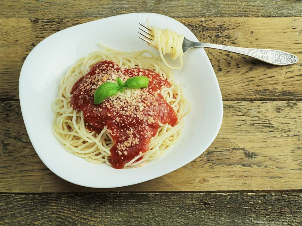 アジのフィッシュボールのトマトソースパスタ