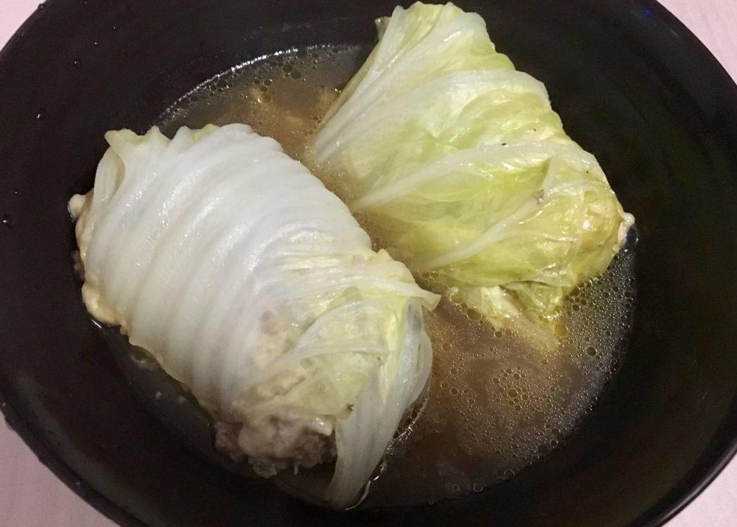 鶏むね肉とひき肉のロールレタスの出来上がり画像
