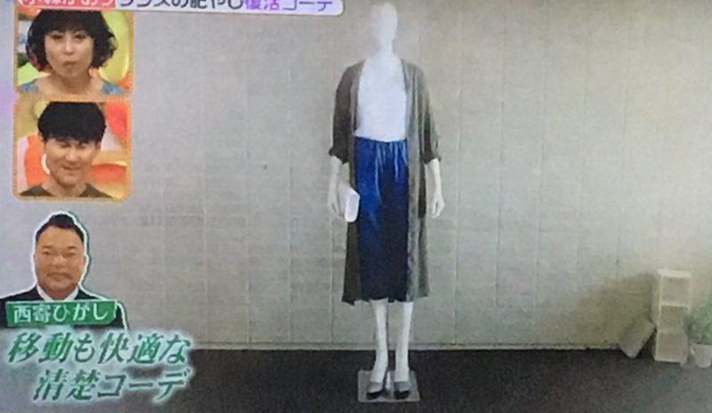 青いパンツのコーデ