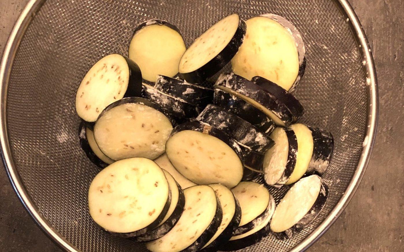 ナスのホタテ鮭サンドの作り方(工程1)