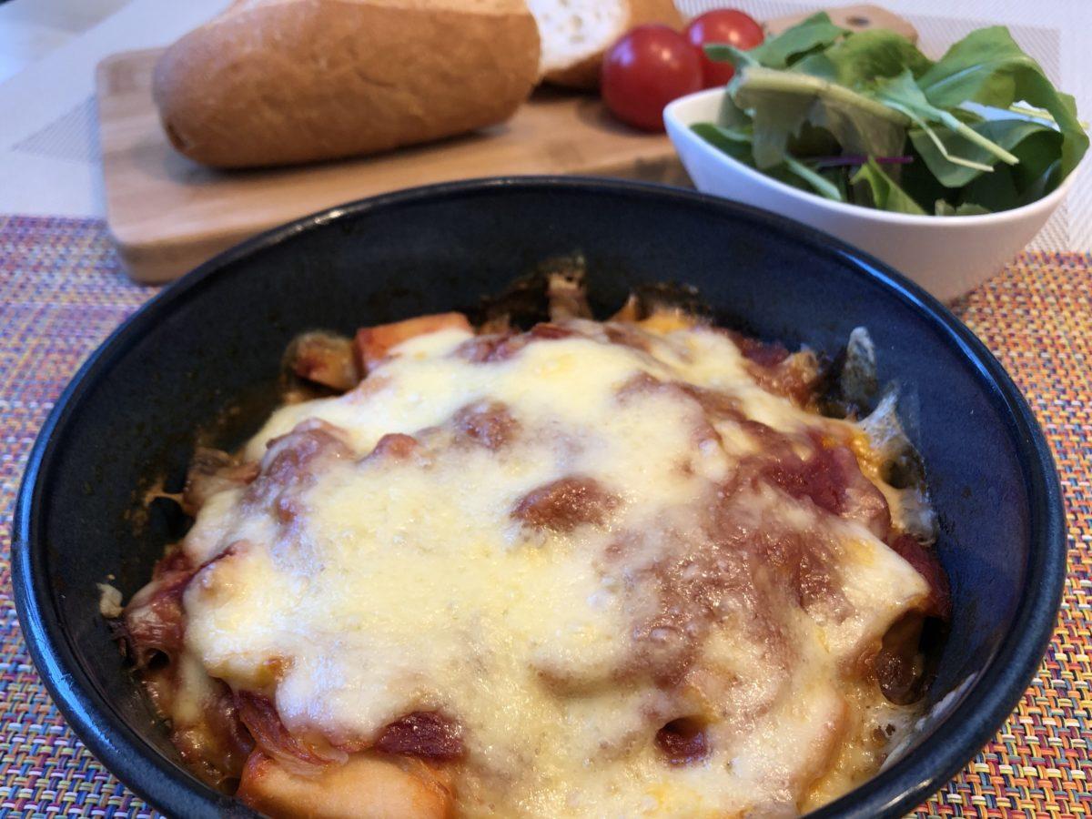 高野豆腐のトマトマカロニ風グラタン