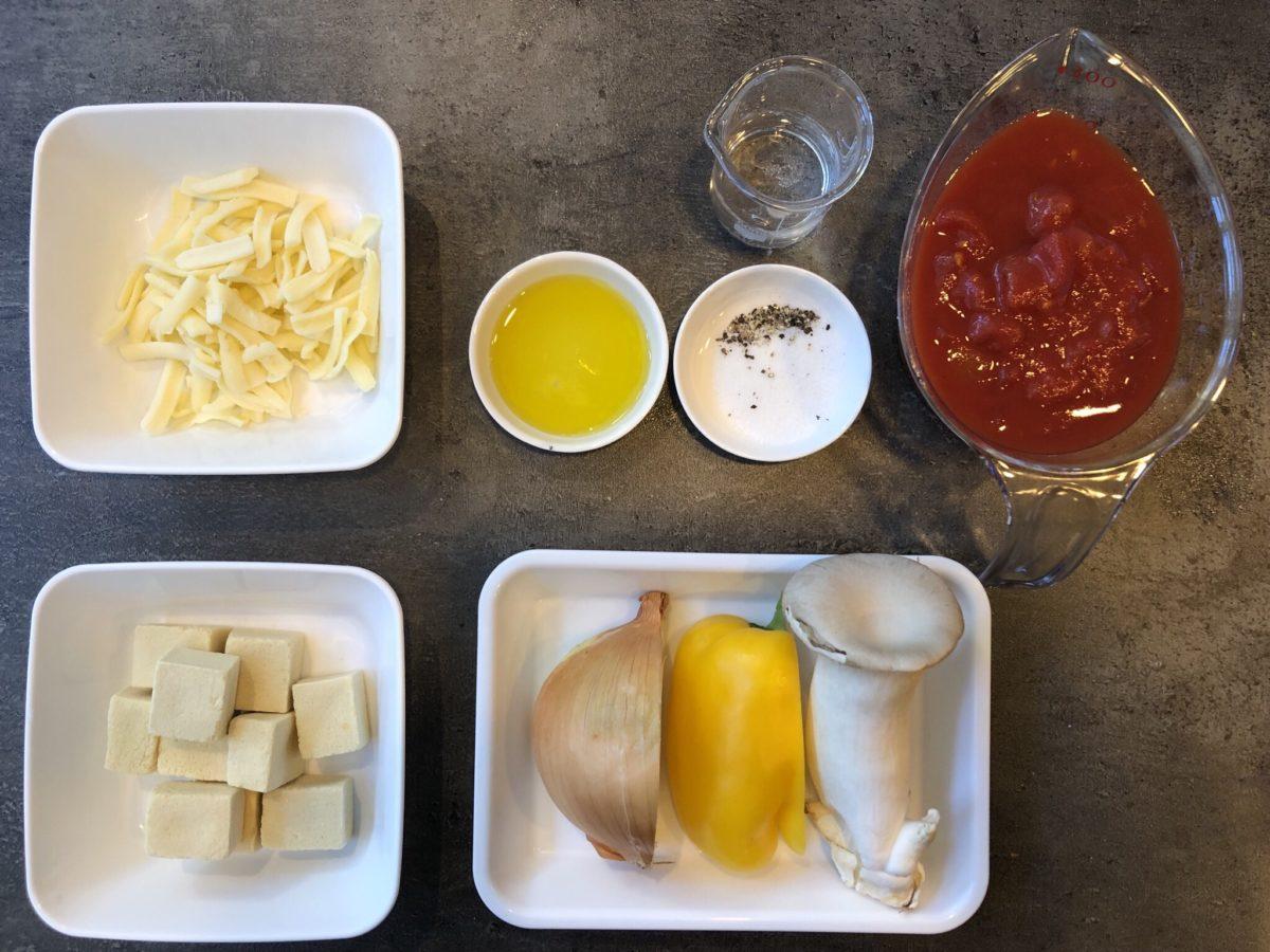 高野豆腐のトマトマカロニ風グラタンの材料