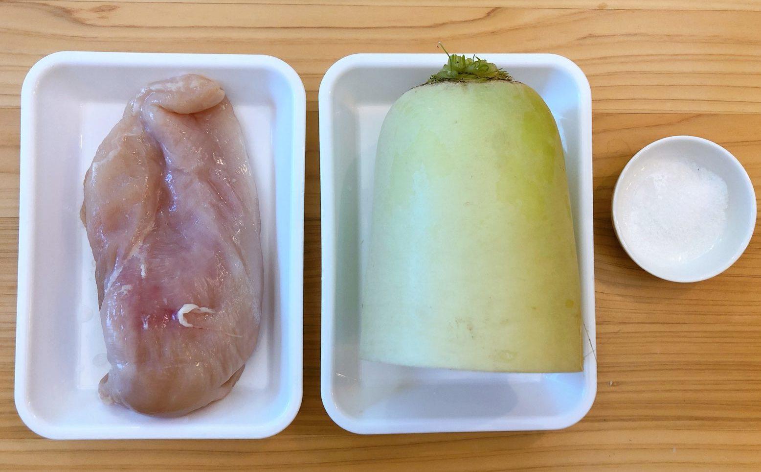 鶏むね肉のヘルシー小鍋の材料