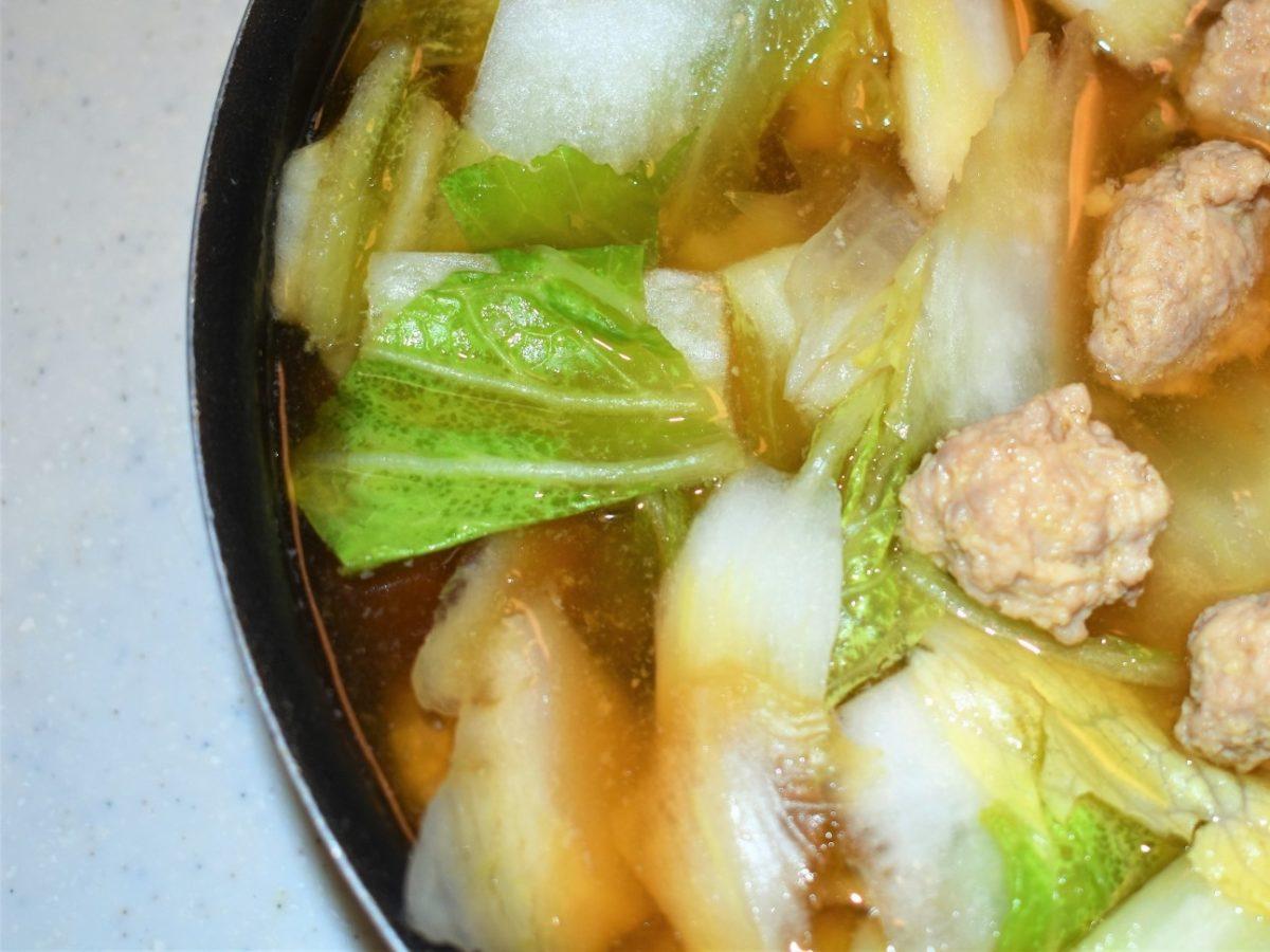 あさイチのおから入り鶏だんごと白菜のスープ煮
