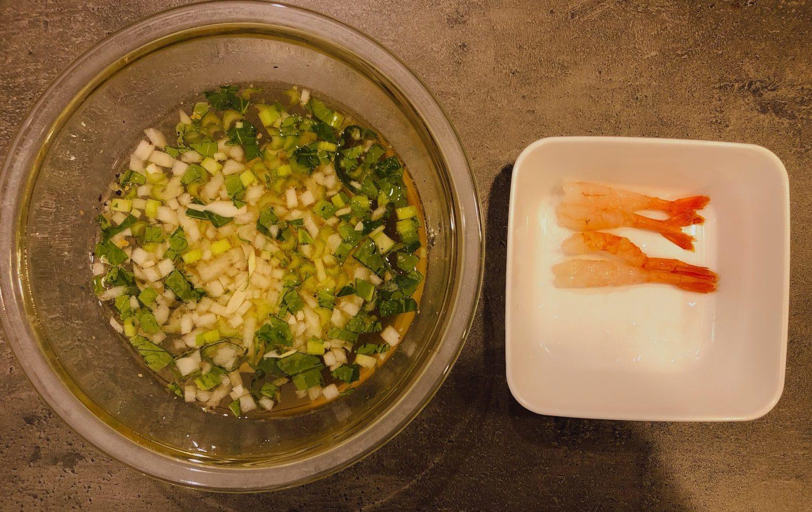 甘エビと小松菜のスープの作り方(工程②)