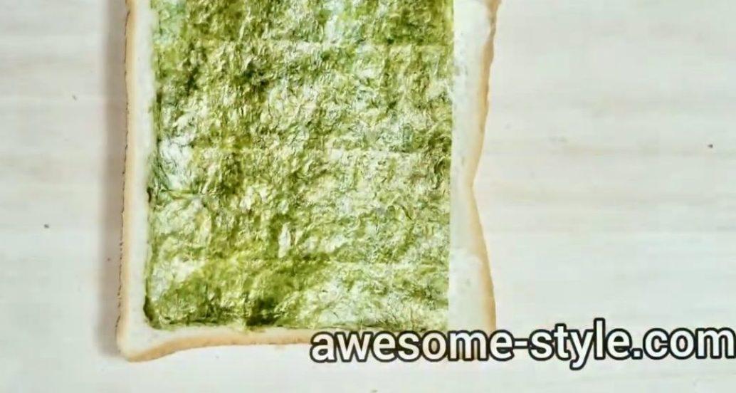 海苔カニカマトーストの作り方(工程1)