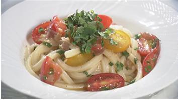 トマトごろごろ冷製うどんレシピ