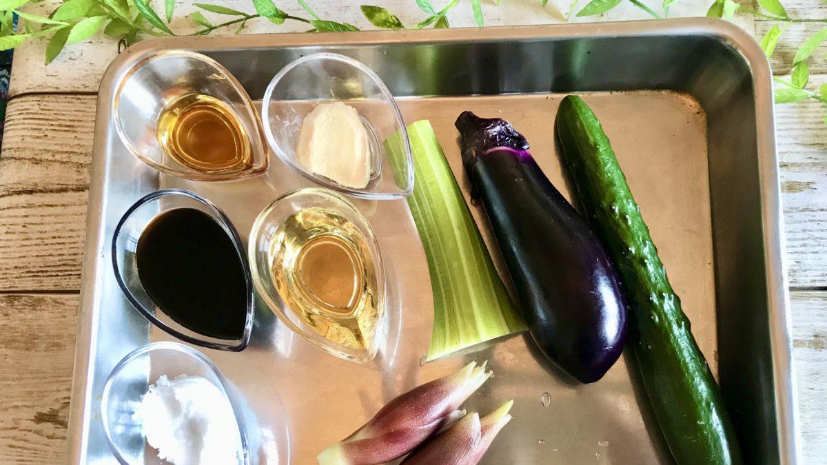 刻み夏野菜のっけ冷やしうどんの材料