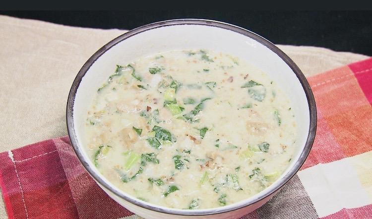ツナと小松菜のクリーミー梅チーズ美腸スープ