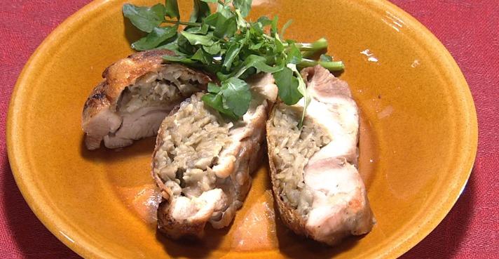 鶏もも肉のきのこペースト詰め