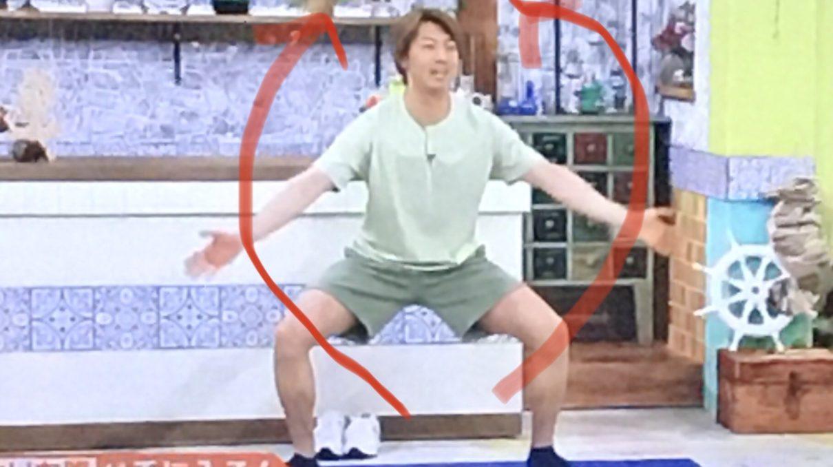 立ち筋トレ(スクワットアームサークル)のやり方3-1